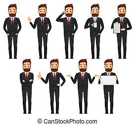 ensemble, illustration., caractère, vecteur, complet, homme affaires, mâle, dessin animé, design.