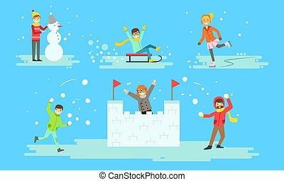 ensemble, illustration, château, gens, boules neige, activités, confection, jouer, neige, vecteur, hiver, sledding
