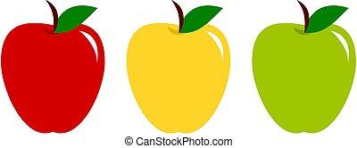 ensemble, illustration., coloré, jaune, apples., vecteur, vert, collection, fruits, icon., rouges