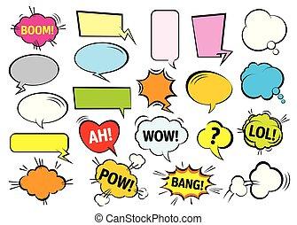ensemble, illustration., couleur, bubbles., vecteur, parole, comique