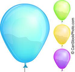 ensemble, illustration., couleur, isolé, vecteur, fond, blanc, ballons