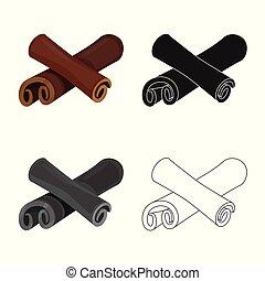 ensemble, illustration., crosse, symbole., vecteur, conception, cannelle, stockage, ingrédient