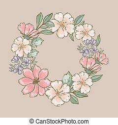 ensemble, illustration, dessiné, fleur, vecteur, couronne, retro, main, floral