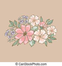 ensemble, illustration, dessiné, fleurs, bouquet, vecteur, retro, main, floral