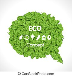 ensemble, illustration., eco, leaves., icons., amical, vecteur, vert, bulle, parole