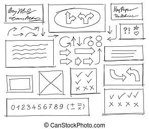 ensemble, illustration., elements., main, vecteur, conception, dessiné, blanc, gribouiller, noir
