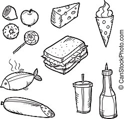 ensemble, illustration., elements., nourriture, griffonnage, vecteur