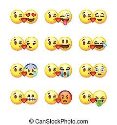 ensemble, illustration., emoticons, isolé, fond, vecteur, blanc, emoji