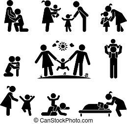ensemble, illustration., famille, pictogramme, icons., vecteur, heureux