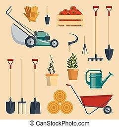 ensemble, illustration., ferme, instruments, equipment., isolé, collection, arrière-plan., flat-vector, blanc, agriculture, outils, jardin, icône