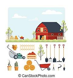 ensemble, illustration., ferme, instruments, ranch, isolé, collection, arrière-plan., flat-vector, équipement, outils, blanc, agriculture, hay., jardin, icône