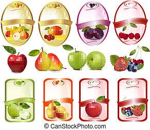 ensemble, illustration., fruit., étiquettes, vecteur, baies