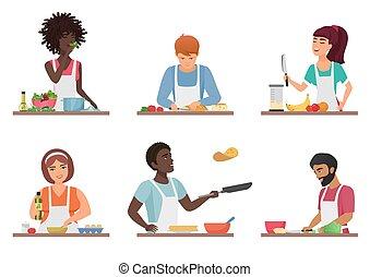 ensemble, illustration., gens, cuisine, isolé, vecteur, dessin animé