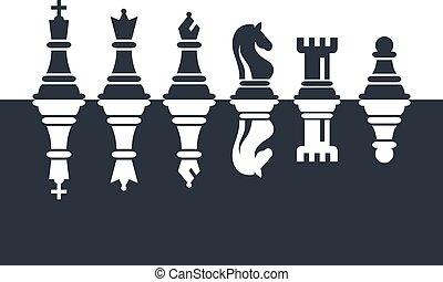 ensemble, illustration., icônes, set., morceaux, vecteur, noir, échecs, blanc