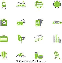 ensemble, illustration., icônes, voyage, vecteur, vert