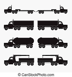 ensemble, illustration., icons., vecteur, noir, camion, caravane