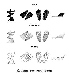 ensemble, illustration., illustration, bitmap, activité, natation, logo., piscine, stockage