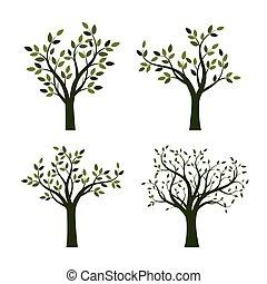 ensemble, illustration., leaves., arbres, vecteur, vert