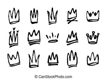 ensemble, illustration, main, crowns., vecteur, dessiné, doodles