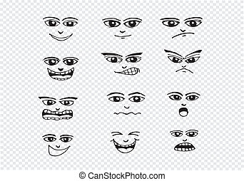 ensemble, illustration, main, faces, dessin animé, dessin