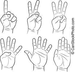 ensemble, illustration, main, vecteur, signes, monochrome