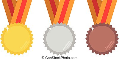 ensemble, illustration., or, vecteur, bronze, argent, médailles