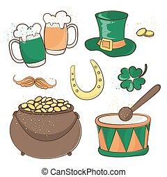 ensemble, illustration, patrick's, bière, vecteur, saint, jour