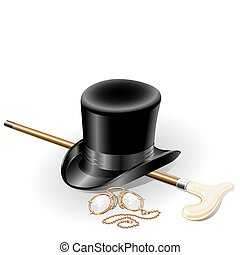 ensemble, illustration, pince-nez, isolé, point, accessoires, walkingstick, vecteur, retro, fond, chapeau blanc