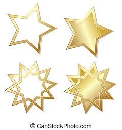 ensemble, illustration, quatre, vecteur, étincelant, étoiles, briller, doré, stockage