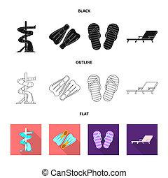 ensemble, illustration., signe., bitmap, conception, activité, piscine, stockage