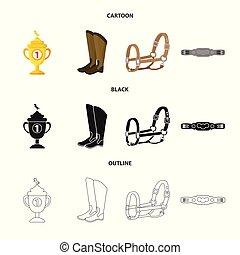 ensemble, illustration., signe., illustration, équipement, ...
