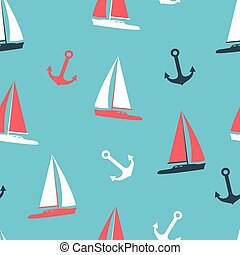 ensemble, illustration, silhouettes, vecteur, yachts, ancre