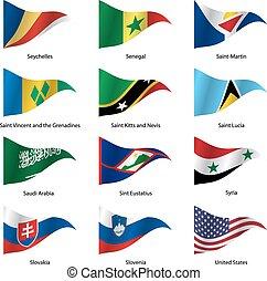 ensemble, illustration., states., souverain, vecteur, drapeaux, mondiale