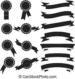 ensemble, illustration, timbres, vecteur, noir, ribbons.