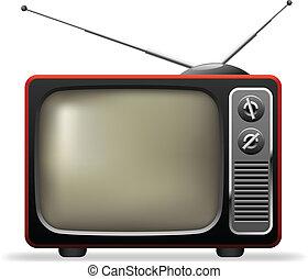 ensemble, illustration., tv, réaliste, vecteur, retro