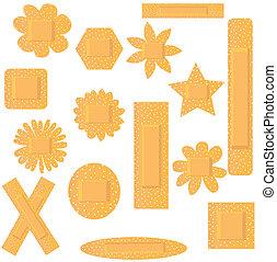 ensemble, illustration, vecteur, beige, fleurs, plâtres