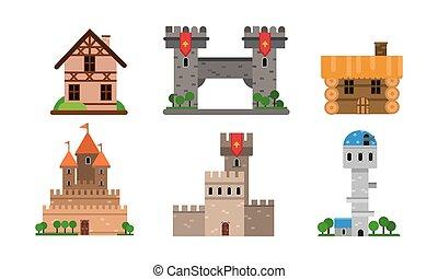 ensemble, illustration, vecteur, buldings, types, différent, maisons, plat