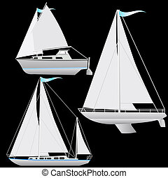 ensemble, illustration., voile, floating., vecteur, bateau