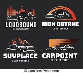 ensemble, illustration., voiture, moderne, sports, suv, emblèmes, vecteur, logo, template., insignes