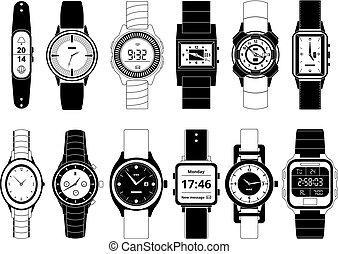 ensemble, images, isoler, montres, main, vecteur, mécanique, monochrome, blanc, sport, électronique, style.