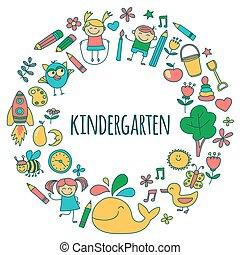 ensemble, images, vecteur, jardin enfants