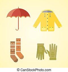 ensemble, imperméable, vêtements, manteau, chauffé, collection, automne, vecteur, gants, illustration, automne, articles, parka, chapeau, écharpe, vin