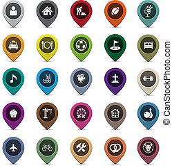 ensemble, indicateurs, rond, carte, 3d