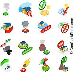 ensemble, indice, isométrique, style, icônes