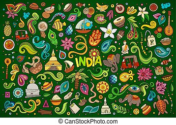 ensemble, indien, objets, griffonnage, symboles, vecteur, ...