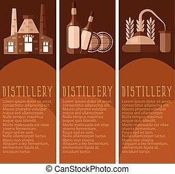 ensemble, industrie, distillerie, illustration, vecteur, objects., bannière