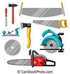 ensemble, industrie, sylviculture, équipement, bois, outils