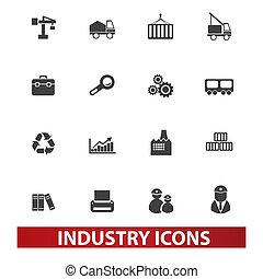 ensemble, industrie, vecteur, icônes