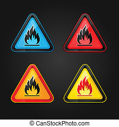 ensemble, inflammable, danger, hautement, symboles, triangle avertissement