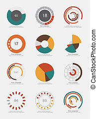 ensemble, info-graphic, diagrammes, tarte